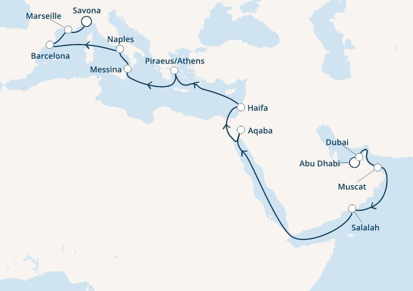 24-days Europe ↔ Middle East cruise onboard Costa Diadema