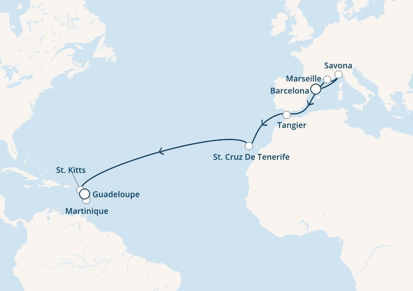 16-days Transatlantic: Europe ↔ Caribbean sea cruise onboard Costa Fascinosa