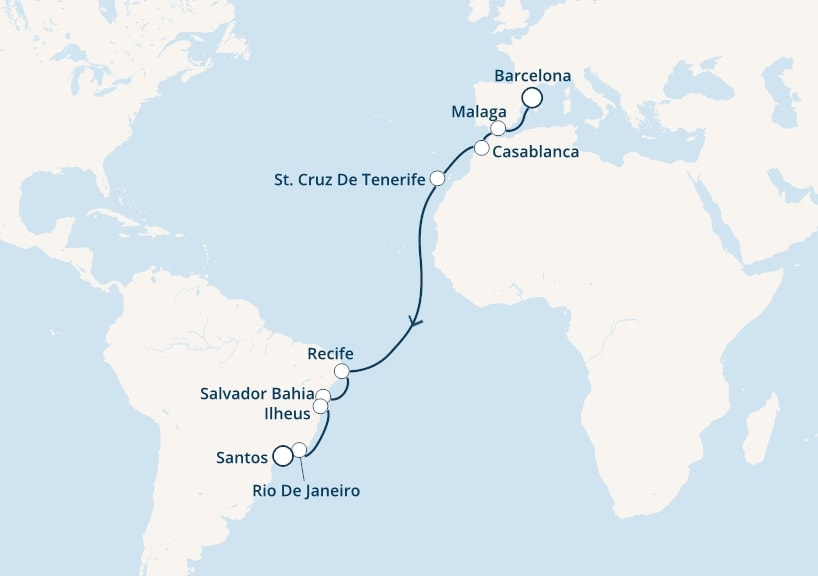 17-days Transatlantic: Europe ↔ South America cruise onboard Costa Magica
