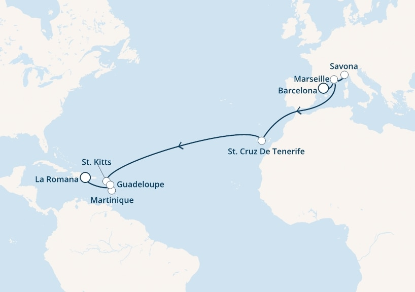 18-days Transatlantic: Europe ↔ Caribbean sea cruise onboard Costa Fortuna