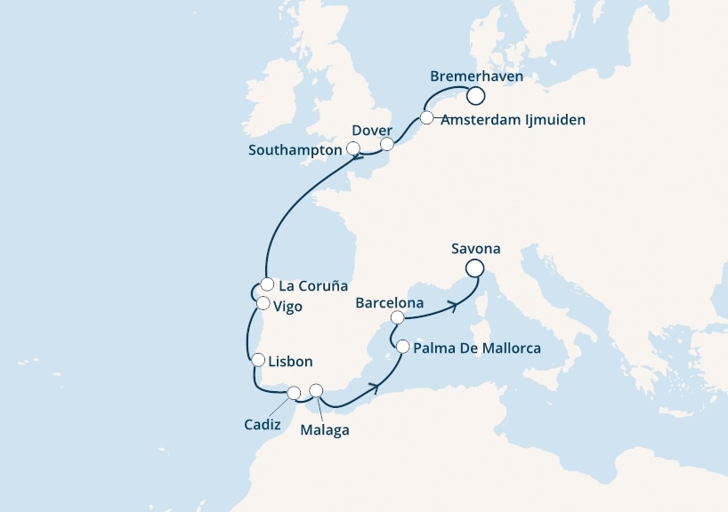 14-days North Europe, Mediterranean cruise onboard Costa Favolosa
