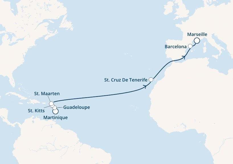 15-days Transatlantic: Europe ↔ Caribbean sea cruise onboard Costa Magica