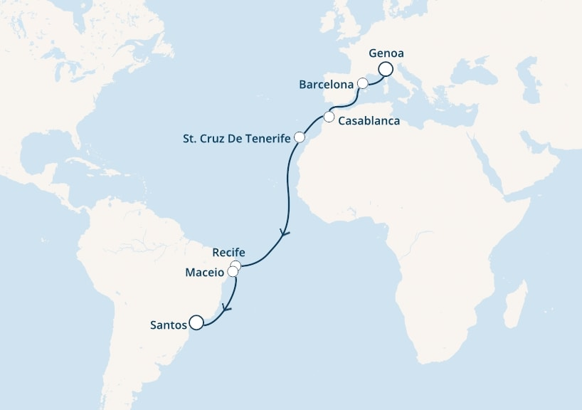 16-days Transatlantic: Europe ↔ South America cruise onboard Costa Pacifica