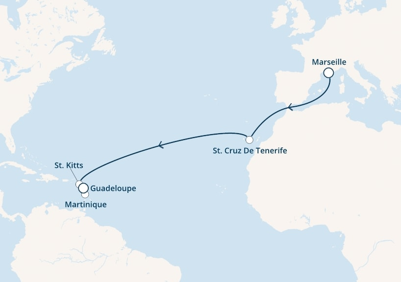 13-days Transatlantic: Europe ↔ Caribbean sea cruise onboard Costa Fortuna