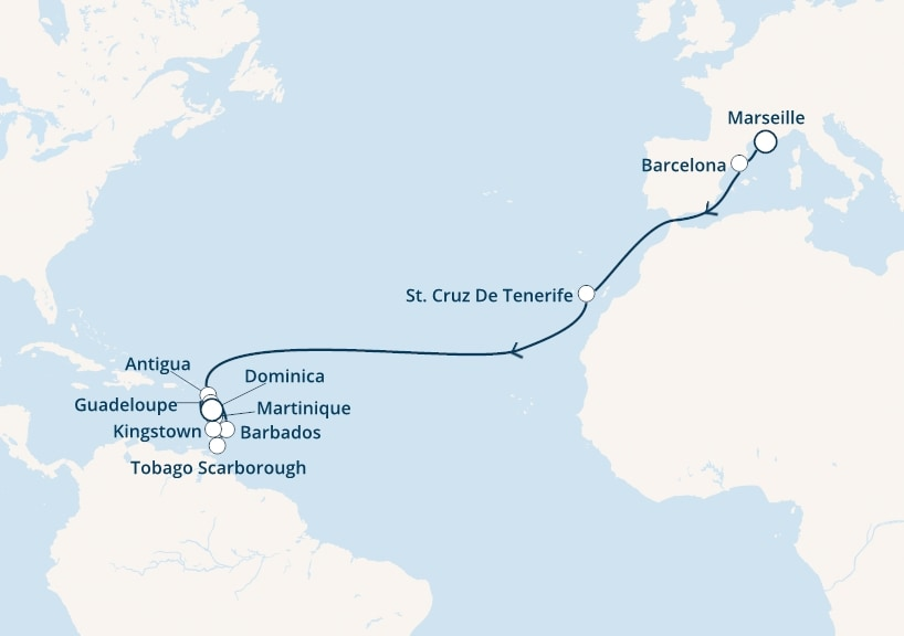 22-days Transatlantic: Europe ↔ Caribbean sea cruise onboard Costa Favolosa