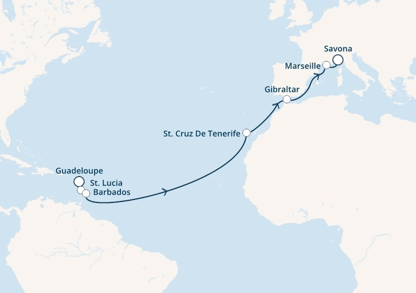 15-days Transatlantic: Europe ↔ Caribbean sea cruise onboard Costa Favolosa