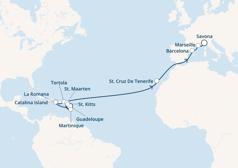 22-days Transatlantic: Europe ↔ Caribbean sea cruise onboard Costa Magica