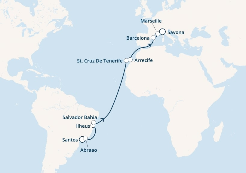 18-days Transatlantic: Europe ↔ South America cruise onboard Costa Luminosa