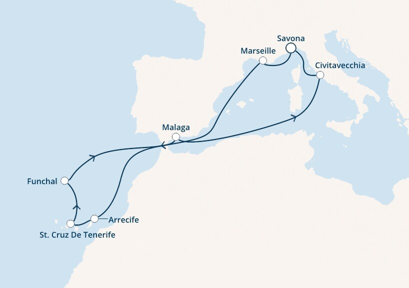 12-days Canary, Mediterranean cruise onboard Costa Favolosa