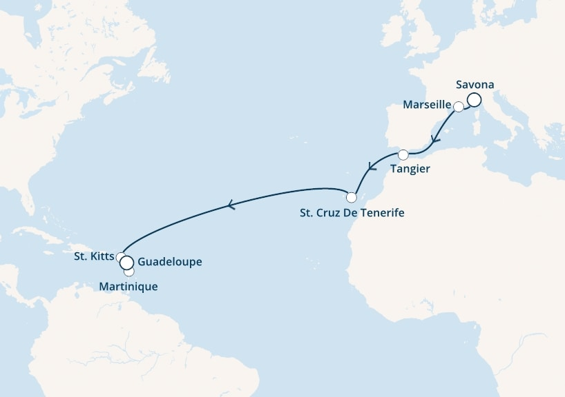 15-days Transatlantic: Europe ↔ Caribbean sea cruise onboard Costa Fascinosa