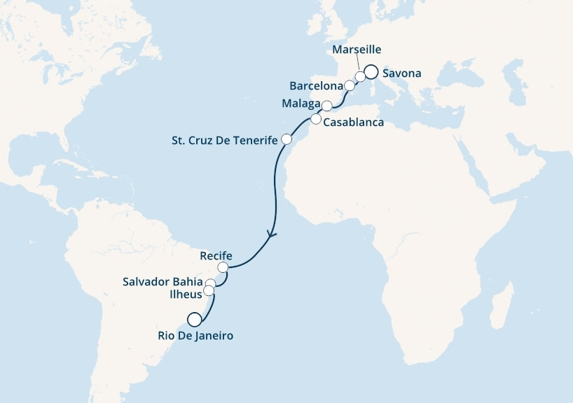 18-days Transatlantic: Europe ↔ South America cruise onboard Costa Magica