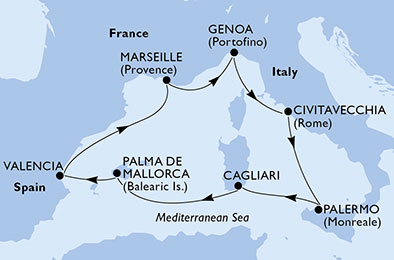 8-days Mediterranean cruise onboard MSC Fantasia