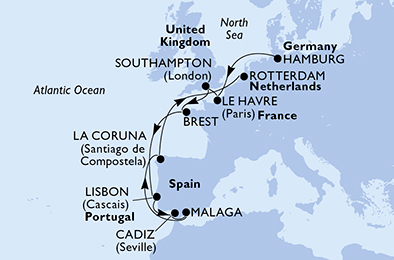 13-days North Europe, Mediterranean cruise onboard MSC Preziosa