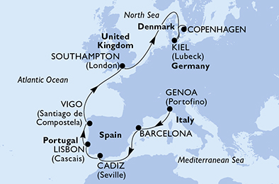12-days North Europe, Mediterranean cruise onboard MSC Virtuosa