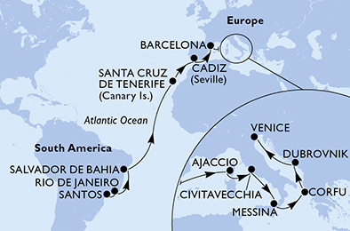 21-days Transatlantic: Europe ↔ South America cruise onboard MSC Sinfonia