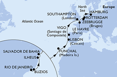 22-days Transatlantic: Europe ↔ South America cruise onboard MSC Preziosa