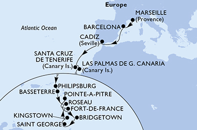 20-days Transatlantic: Europe ↔ Caribbean sea cruise onboard MSC SEAVIEW