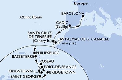 18-days Transatlantic: Europe ↔ Caribbean sea cruise onboard MSC SEAVIEW