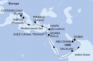 19-days MSC GRAND VOYAGES cruise onboard MSC Fantasia