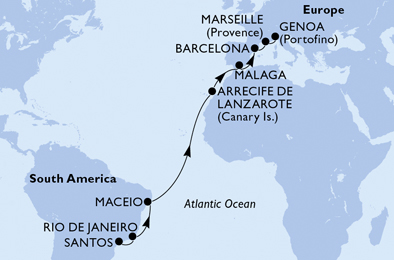17-days Transatlantic: Europe ↔ South America cruise onboard MSC SEAVIEW