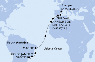 15-days Transatlantic: Europe ↔ South America cruise onboard MSC SEAVIEW