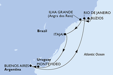 10-days South America cruise onboard MSC Sinfonia